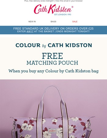 FREE matching pouch with any Colour by Cath Kidston bag