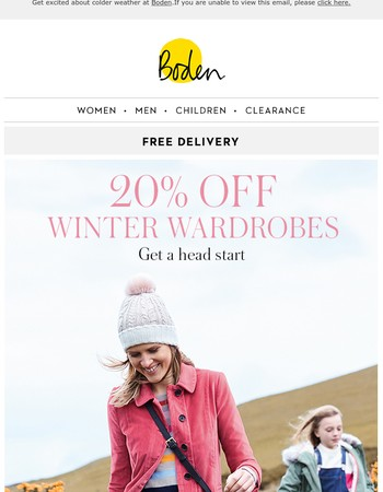 20% OFF winter: it's coming, honest