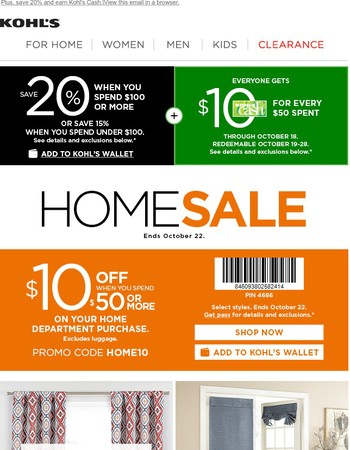 Home in on $10 off & deals for every room.