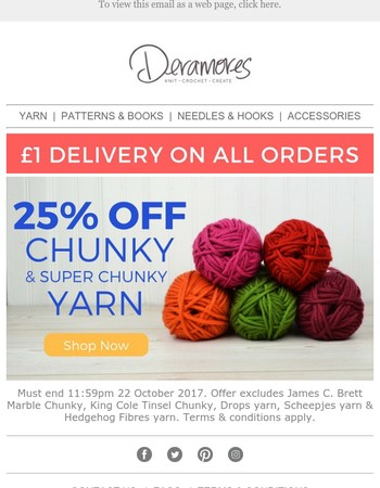 25% Off Chunky Yarn Now On + £1 Delivery