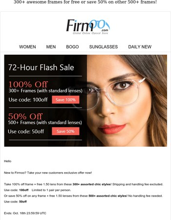 72-Hour Flash Sale | 100% Off Glasses For New Customers