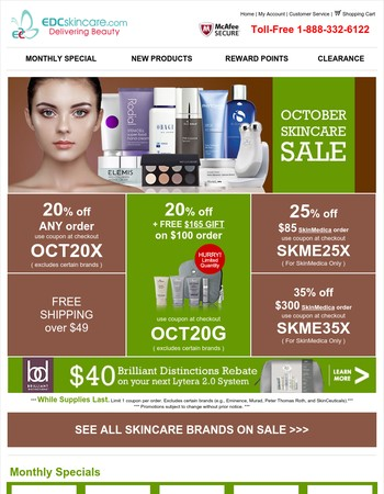 October Skincare Sale ★ 20-35% off ★ FREE $165 Gift ★ Only 100 Sets Left ★ Hurry!