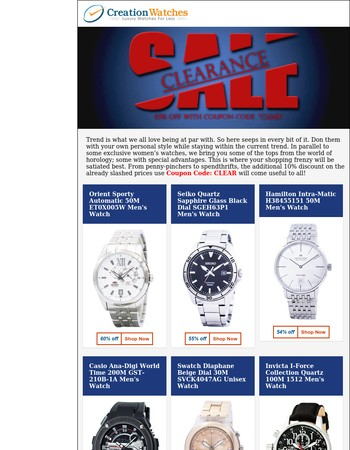 Clearance Sale on Watches – Up to 80% off with Free Worldwide Shipping!