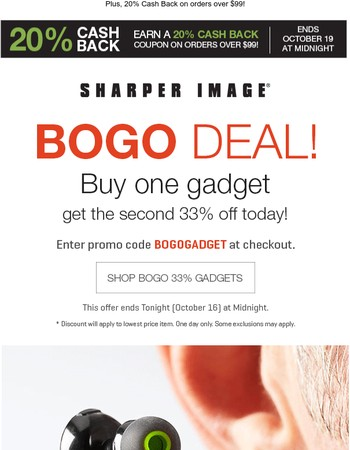 Buy one gadget get the second 33% off today!