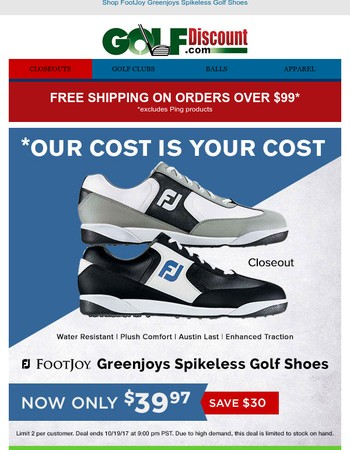 Our Cost is Your Cost: FootJoy Greenjoys Spikeless Golf Shoes $39.97, Save $30
