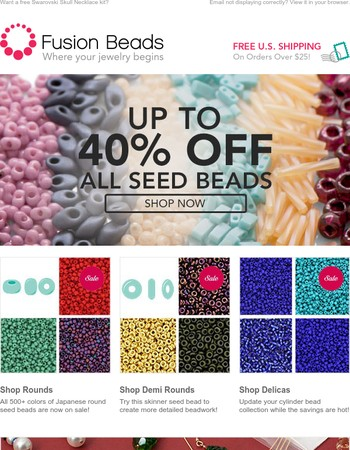 HURRY! Hours Left to Save up to 40% on Seed Beads!