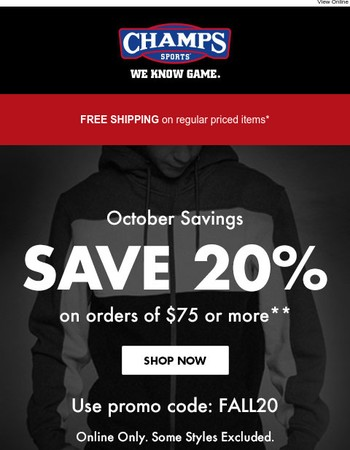 Don't look now - here's 20% off with fall savings!
