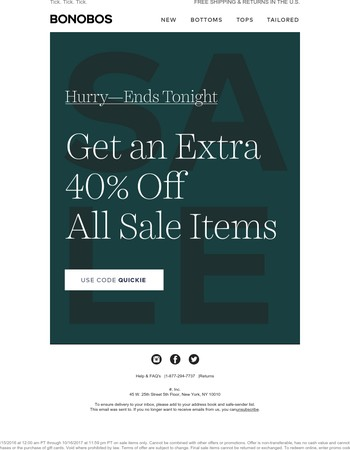 LAST DAY: Extra 40% off sale items.
