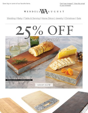 Last Chance to Save 25 Percent Off Cutting Boards and More