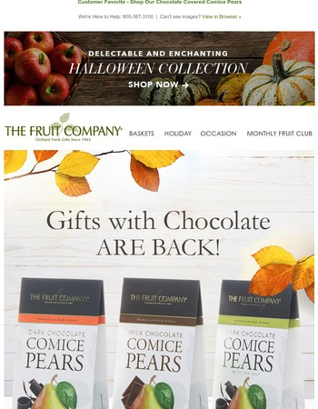 Chocolate Gifts are Back! Delicious, Decadent and Sweet Treats for all.
