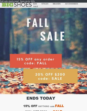 Ends Tonight! Save up to 20%