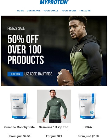 Monday Night Frenzy! 50% off over 100 products