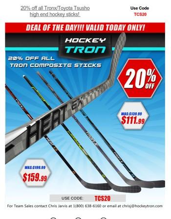 ⭐⭐⭐20% off all Tronx/Toyota Tsusho high end hockey sticks! Use Code  TCS20