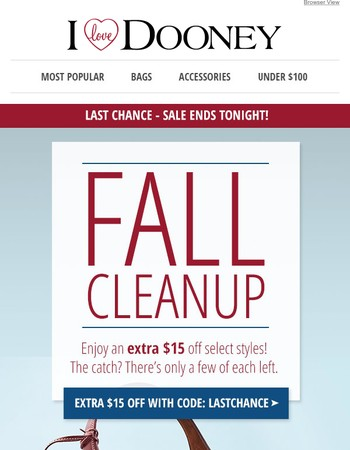 ENDS TONIGHT: Extra $15 Off Fall Cleanup Sale