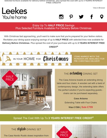 Revitalise your Dining Room in time for Christmas in the Leekes Autumn Sale