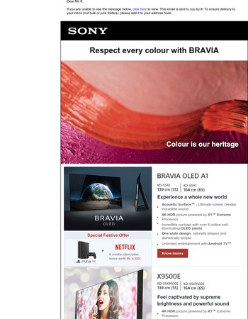 Introducing amazing festive season offers and new product launches by Sony