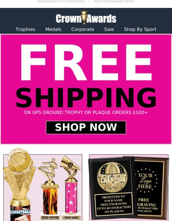 Hurry! FREE SHIPPING on Trophies & Plaques