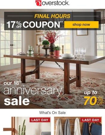 Last Chance! Your Coupon Expires at Midnight! Shop the Anniversary Sale!