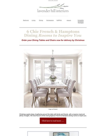6 Inspiring French & Hamptons Dining Rooms | Order your Table & Chairs Now for delivery by Christmas