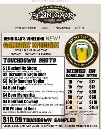 Food, Fun, and Football at Bennigan's