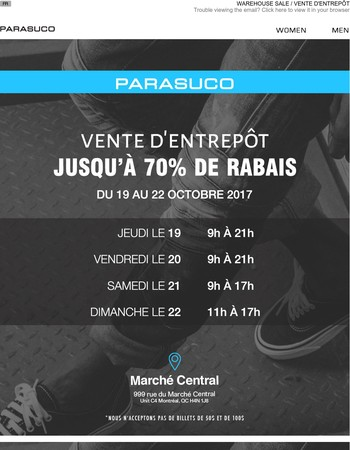 WAREHOUSE SALE / VENTE D'ENTREPÔT