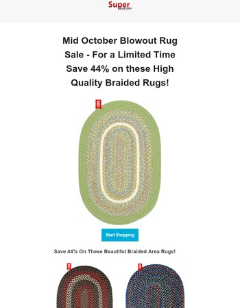 Mid October Blowout  Rug Sale - Save 44% + Free Shipping on these Braided Rugs