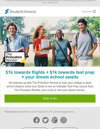 Sweeps: take flight to your dream school