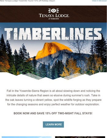 Timberlines News: Fall Offers, Luxury Bus Tours & Holiday Happenings!
