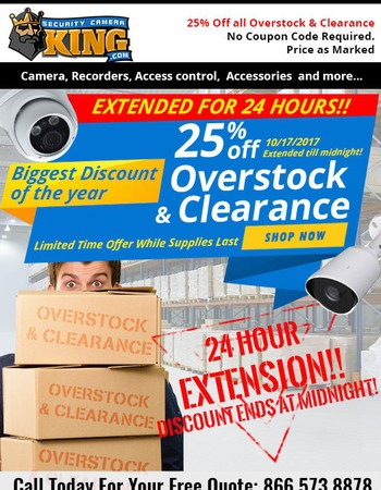 24 HOUR CLEARANCE OVERSTOCK EXTENSION!
