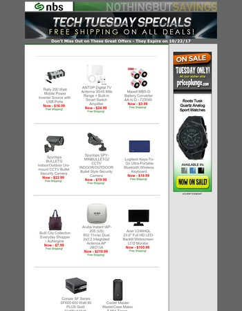 Tech tuesday specials with no shipping charge