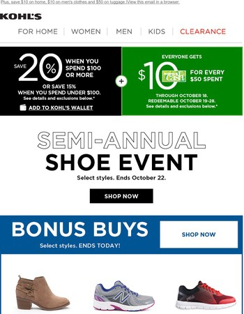 Save up to 20% during the Semi-Annual Shoe Event!