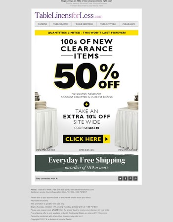 Take 50% off 100s of new clearance items right now!