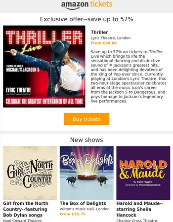Thriller--exclusive--save up to 57%, plus Girl from the North Country and more