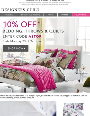 An Extra Hour in Bed + Extra 10% off Bedding, Throws & Quilts