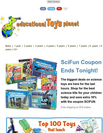 Hours left for the SCIFUN Science Toys Sale!