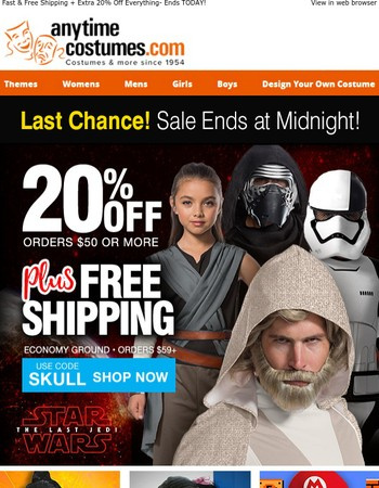 Fast & Free Shipping + Extra 20% Off Everything- Ends TODAY!
