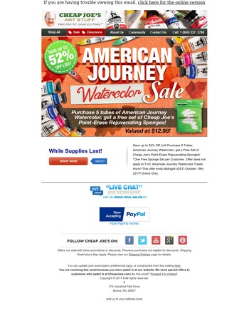 American Journey Watercolor Sale! Up to 52% Off List!