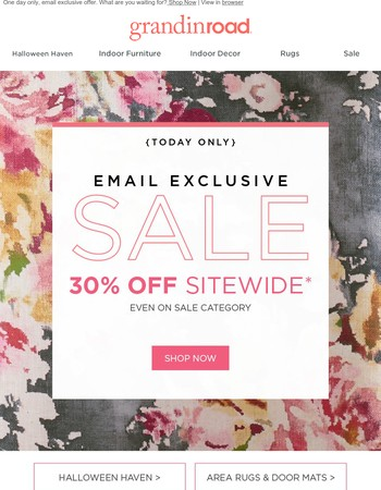 {Exclusive} 30% OFF SITEWIDE | Just you. Just today. Hurry.