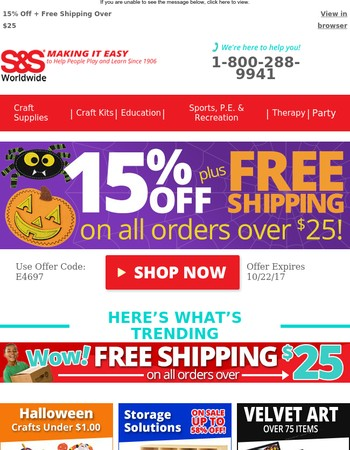 Spooky Savings! 15% Off  + Free Shipping on Orders Over $25!