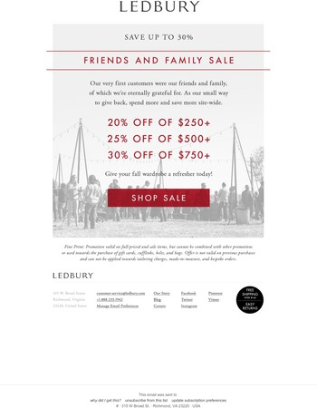 A Reason to Come Back: 30% Off Friends & Family Sale