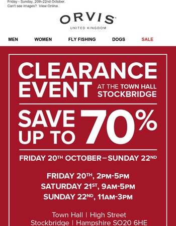Enjoy up to 70% off at our Town Hall Clearance Event.