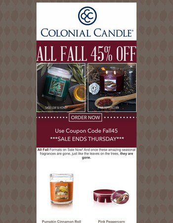 ALL FALL 45% OFF - Ends Thursday