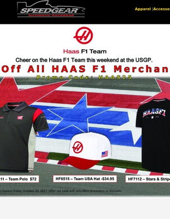 25% Off All Haas F1 Gear | Cheer on USA's Team this weekend in Austin!