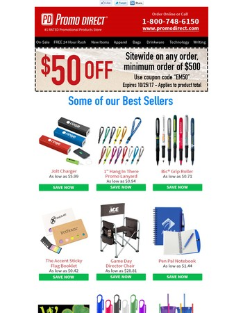 Save $50 On Any Order, min. $500 - Expires 10/25