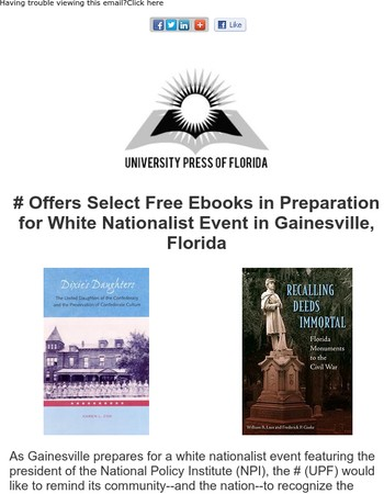 UPF Offers Select Free Ebooks in Preparation for White Nationalist Event in Gainesville, Florida