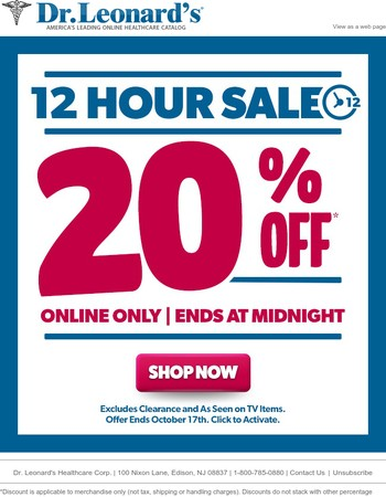 12PM Noon to 12 PM Midnight - 20% off