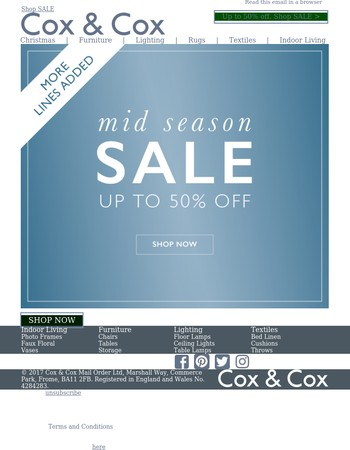 More lines added | Up to 50% off in Mid Season Sale