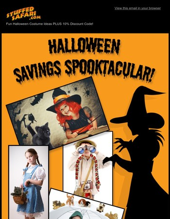 Great Halloween Costume Ideas PLUS 10% Discount Code From StuffedSafari.com!