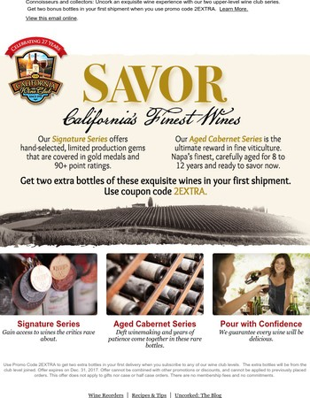 Get 2 Bonus Bottles of California's Most Coveted Wines!