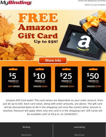 Up to $50 FREE Amazon Gift Card